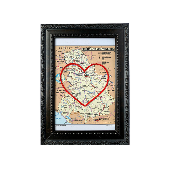 Serbia and Montenegro Heart Map