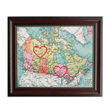 Yellowknife to Ontario Connecting Hearts Map