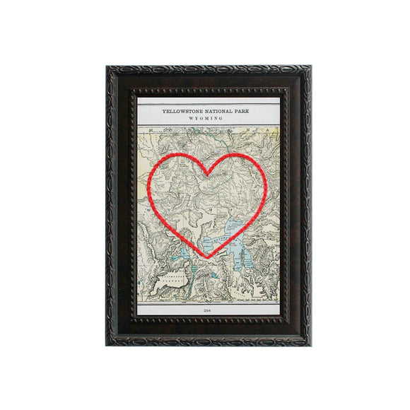 Yellowstone National Park Heart Map
