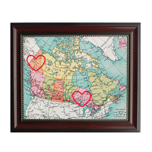 Yukon to Ontario Connecting Hearts Map