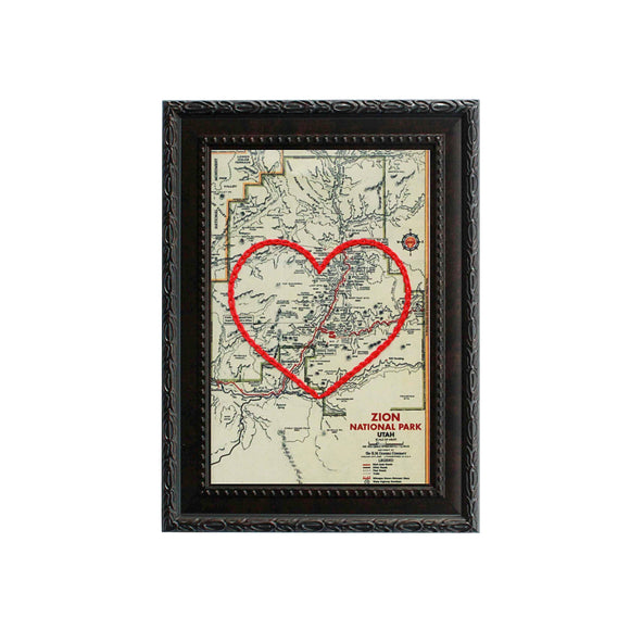 Zion National Park Heart Map