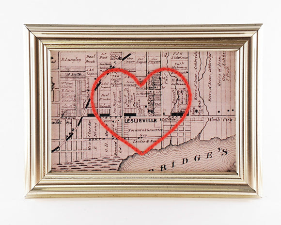 Sadie and June Hand Embroidered Heart Map of Toronto Neighbourhood Ontario