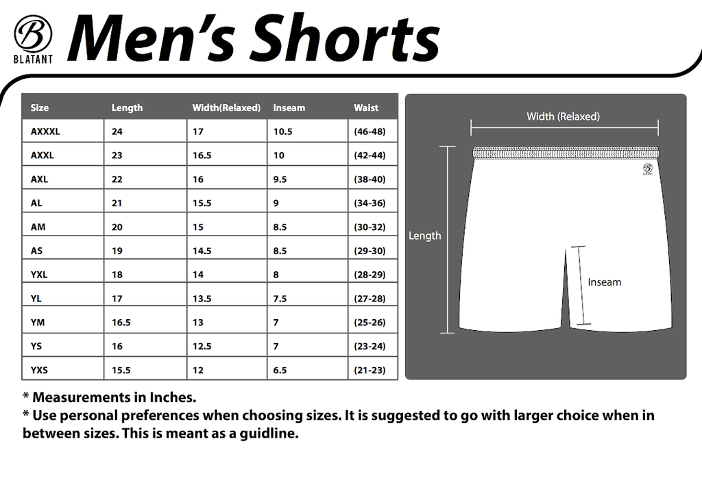 Men's Shorts Size Guide
