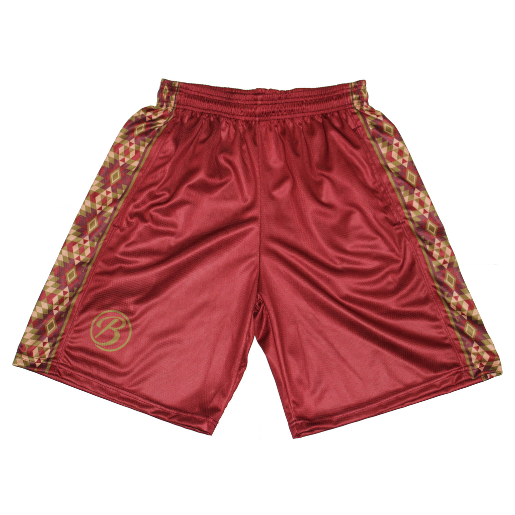Blatant Lacrosse Temple Shorts: Red/Brown