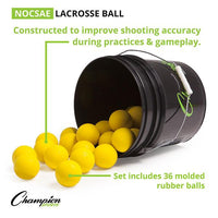 Champion Lacrosse Ball Bucket (36 Balls) YELLOW