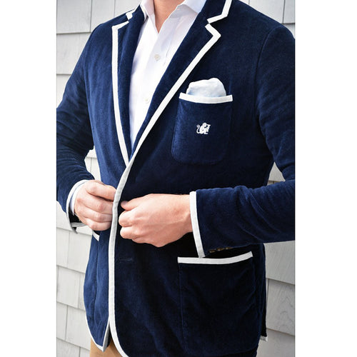 Bask - Men's Navy Terry Cloth Toweling Blazer