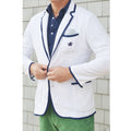 Bask - Men's White & Montauk Navy Terry Cloth Toweling Blazer