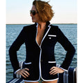 Bask - Women's Navy Terry Cloth Toweling Blazer