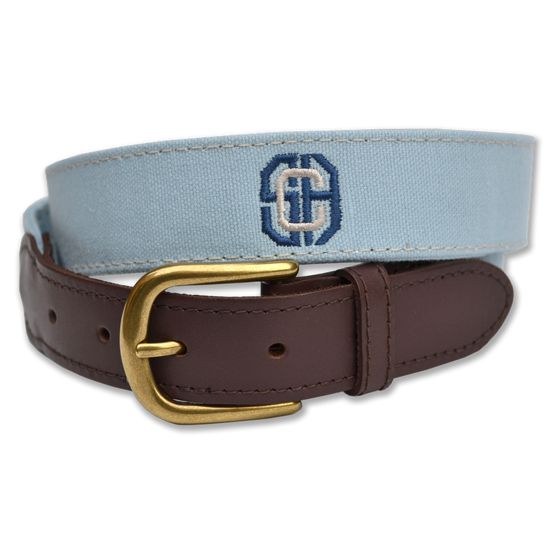 Belted Cow - Embroidered Canvas Leather Tab Belt