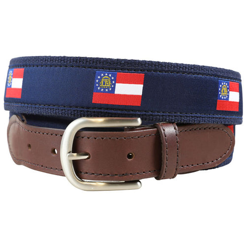 Belted Cow - Georgia State Flag Leather Tab Belt