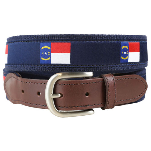 Belted Cow - North Carolina State Flag Leather Tab Belt