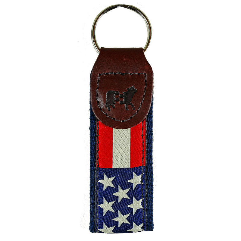 Belted Cow - Retro Flag Key Fob