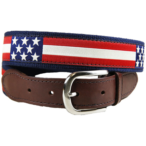 Belted Cow - Retro Flag Leather Tab Belt