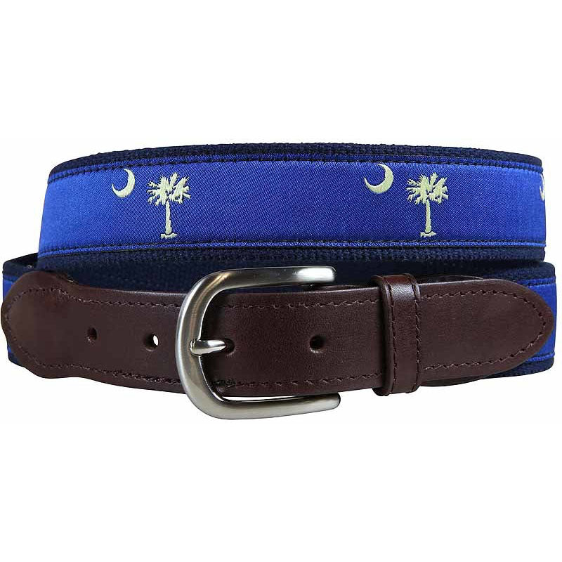 Belted Cow - Palmetto Tree and Crescent Moon Leather Tab Belt (Blue)