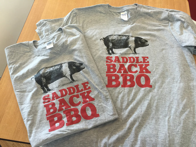 Saddleback BBQ T-shirt Grey w/ Red Logo