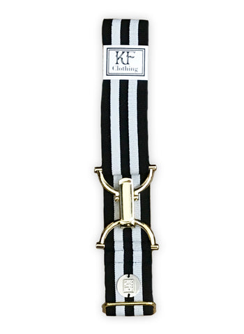 Black gray stripe elastic adjustable belt with 1.5 inch gold clip buckle by KF Clothing