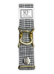 Black plaid adjustable belt with gold interlocking clasp by KF Clothing