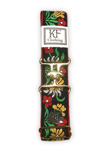"Edelweiss adjustable belt with 1.5"" gold surcingle buckle by KF Clothing"