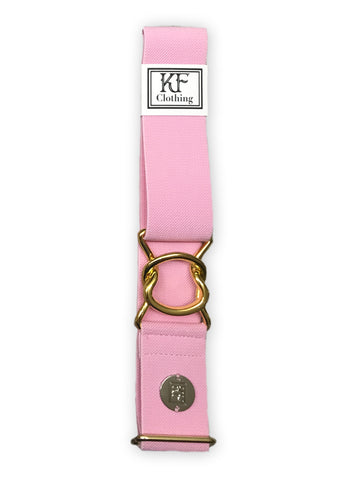 Light pink elastic adjustable belt with 1.5 inch  gold interlocking clasp by KF Clothing