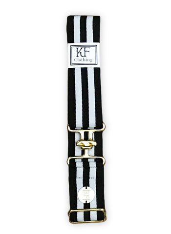 Black gray stripe elastic adjustable belt with 1.5 inch gold surcingle buckle by KF Clothing