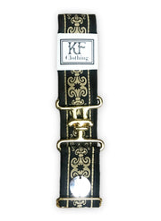 "1.5"" gold surcingle clasp black  fleur de lis belt by KF Clothing"