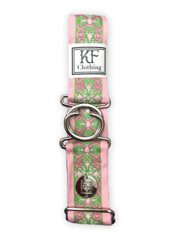 Pink renaissance adjustable belt with 1.5 inch silver interlocking buckle by KF Clothing
