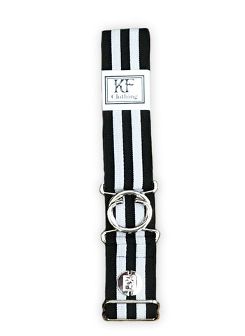 Black gray stripe elastic adjustable belt with 1.5 inch silver interlocking buckle by KF Clothing