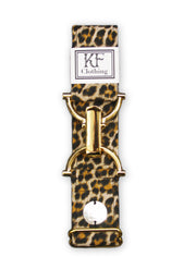"Cheetah adjustable belt with 1.5"" gold clip clasp by KF Clothing"