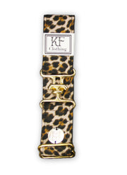 "Cheetah adjustable belt with 1.5"" gold surcingle clasp by KF Clothing"