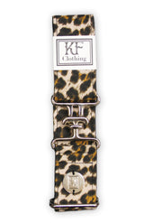 "Cheetah adjustable belt with 1.5"" silver surcingle clasp by KF Clothing"