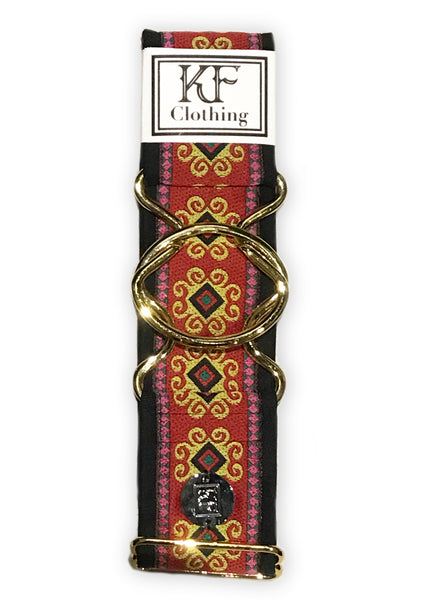 Red flourish patterned adjustable belt with gold interlocking buckle by KF Clothing