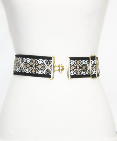Black renaissance adjustable belt with gold surcingle clasp by KF Clothing