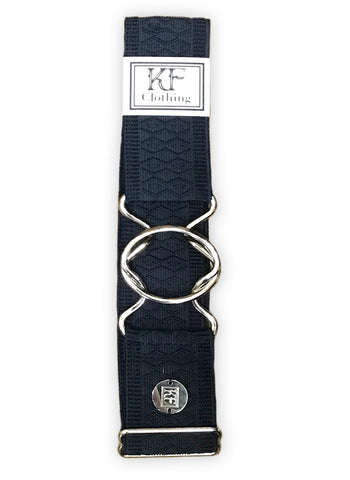 "Navy diamond elastic adjustable belt with 2"" silver interlocking buckle by KF Clothing"