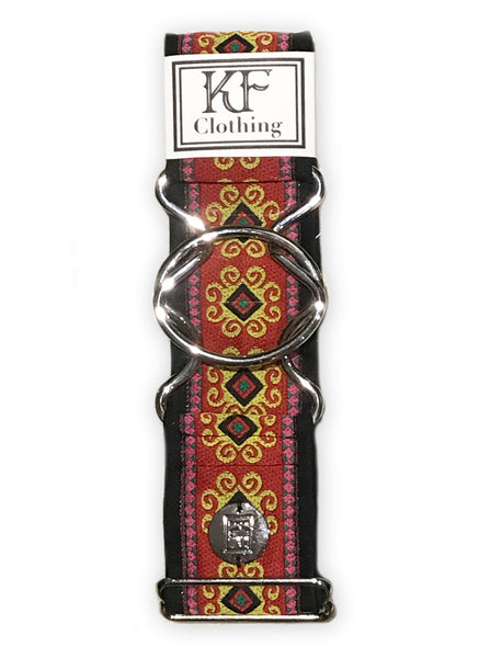 Red flourish patterned adjustable belt with silver interlocking buckle by KF Clothing