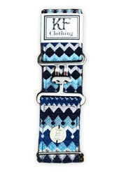 "Blue moroccan fabric belt with 2"" silver surcingle buckle by KF Clothing"
