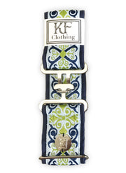 "Royal renaissance adjustable belt with 2"" silver surcingle buckle by KF Clothing"