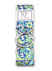 "Royal blue and green paisley adjustable belt with 2"" silver interlocking clasp by KF Clothing"