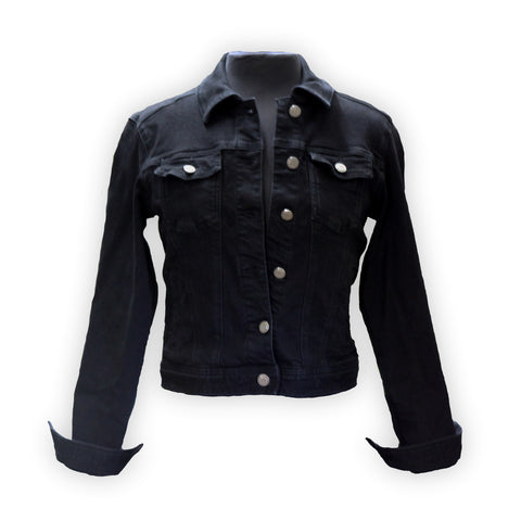 Black denim jacket by KF Clothing front view