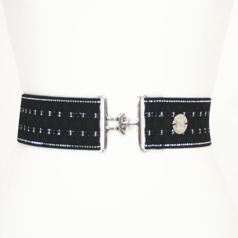 "Black silver diamond elastic adjustable belt with 2"" silver surcingle buckle by KF Clothing"