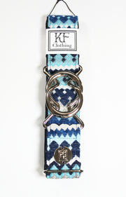 "Blue moroccan fabric belt with 1.5"" silver interlocking buckle by KF Clothing"