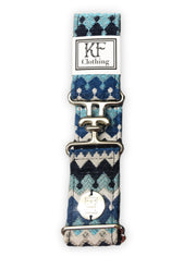 "Blue moroccan fabric belt with 1.5"" silver surcingle buckle by KF Clothing"