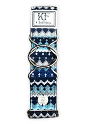 "Blue moroccan fabric belt with 2"" silver interlocking buckle by KF Clothing"