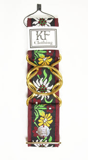 "Burgundy edelweiss belt with 2"" gold interlocking buckle by KF Clothing"