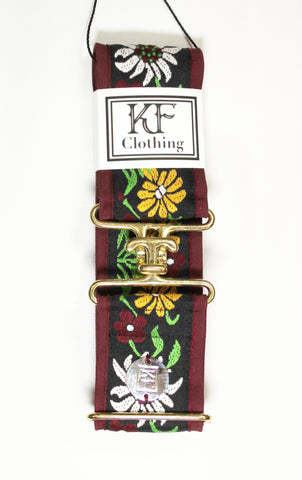 "Burgundy edelweiss belt with 2"" gold surcingle buckle by KF Clothing"