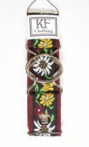"Burgundy edelweiss belt with 2"" silver interlocking buckle by KF Clothing"