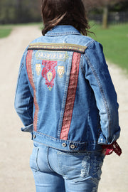 Womens embroidered denim jacket back view of Sopia by KF Clothing