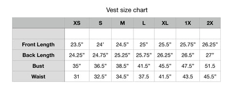 Size chart Soft shell vests by KF Clothing