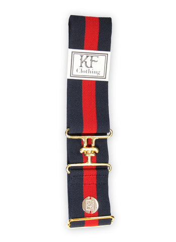 "Navy red stripe elastic belt with 2"" gold surcingle clasp by KF Clothing"