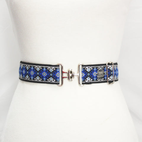 "Navy silver aztec belt with 1.5"" silver surcingle clasp on mannequin by KF Clothing"