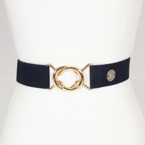 "Navy elastic adjustable belt with 1.5"" rose gold interlocking buckle by KF Clothing"
